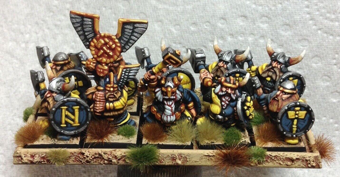 25 mm 28 mm bien peint Warhammer Fantasy Dwarf Warrior REGIMENT Épuisé 9th âge Kow