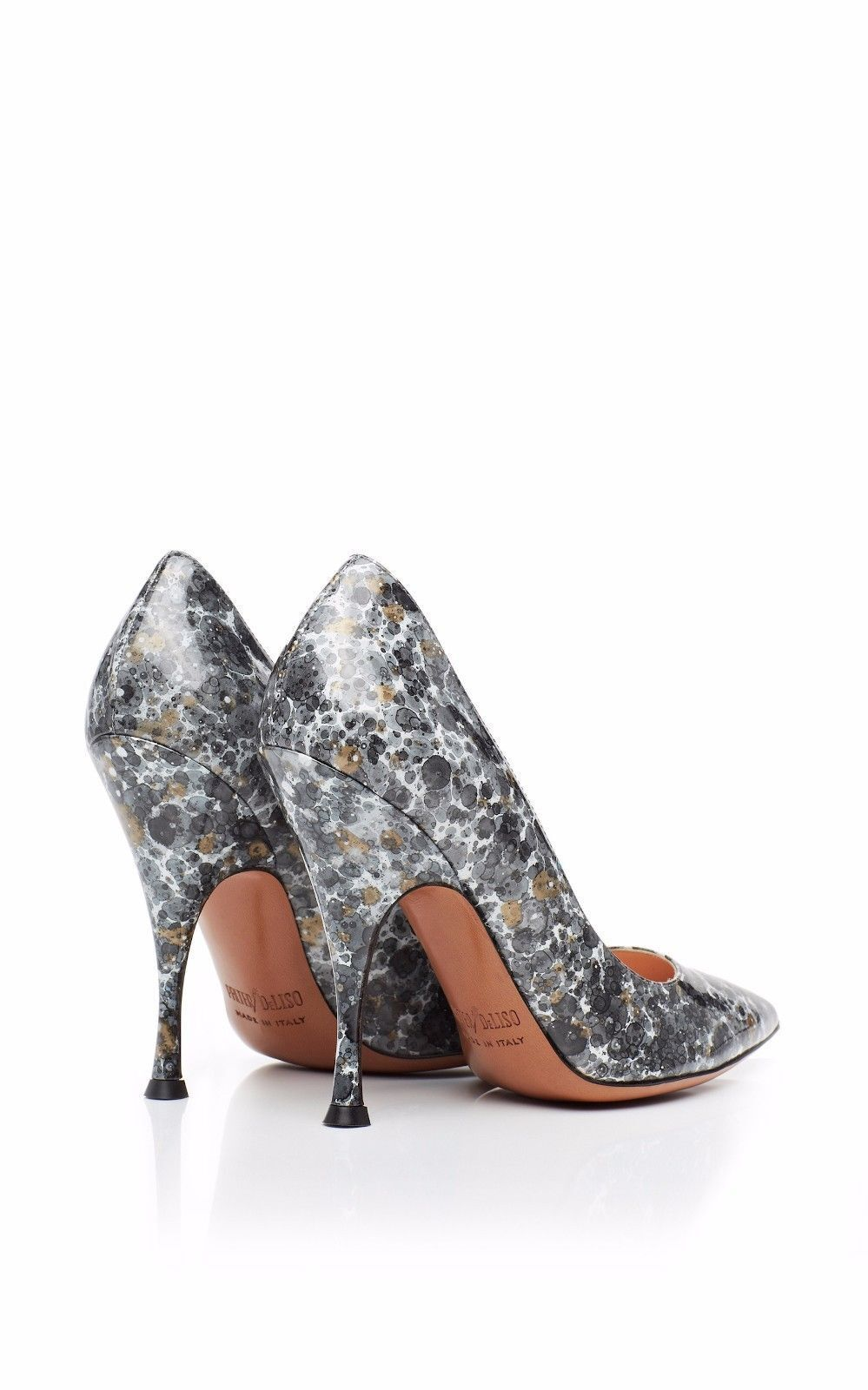 PALTER Silver DELISO MONET PUMPS Gray Silver PALTER Hand Painted 895 New Sz US 10 floral 25fa72