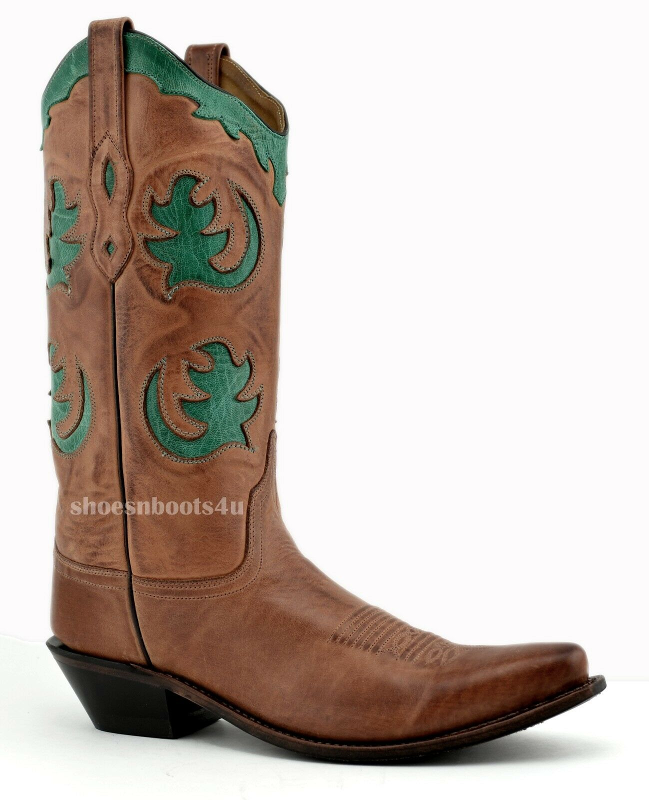WOMENS 9.5 9 1 2 M OLD WEST BARNWOOD TURQUOISE INLAYS COWBOY BOOTS LF1523