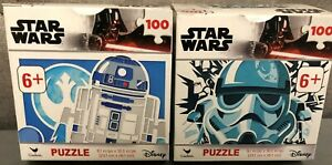 Disney-Star-Wars-Lot-of-2-100-Piece-Puzzles-R2D2-amp-Storm-Trooper-Brand-New