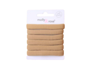 Set of 6 Nude Soft Jersey Endless Snag Free Hair Elastics Ponios  Bobbles Bands