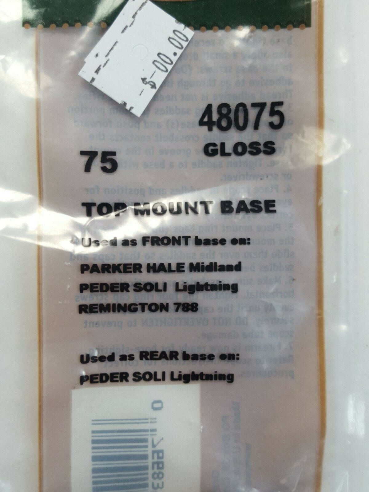 Weaver Top Mount Base 75 Parker-Hale Midland Remington 788 48075
