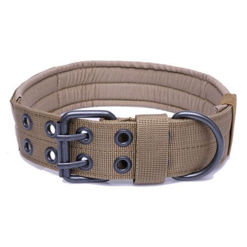 Military Tactical Adjustable Dog Training Collar Nylon Leash MetalBuckle M-XL