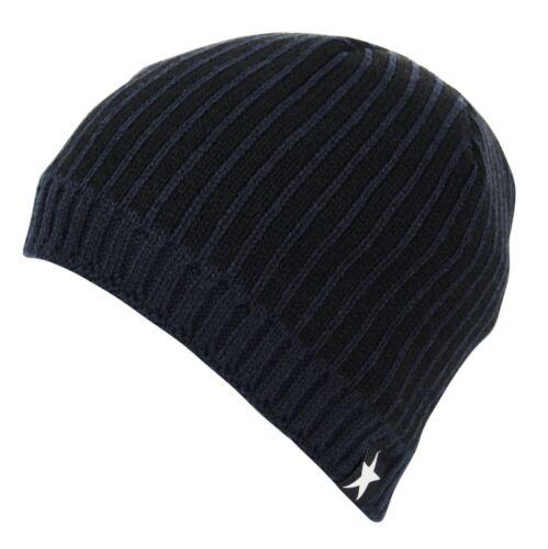 HSWT Head-Wear 2 Tone Fleece Lined Striped Pull On Beanie Cap Hat