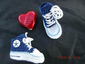 Blau Maritim Selbst Gehäkelt chucks 100% Baumwolle Streng Babyschuhe