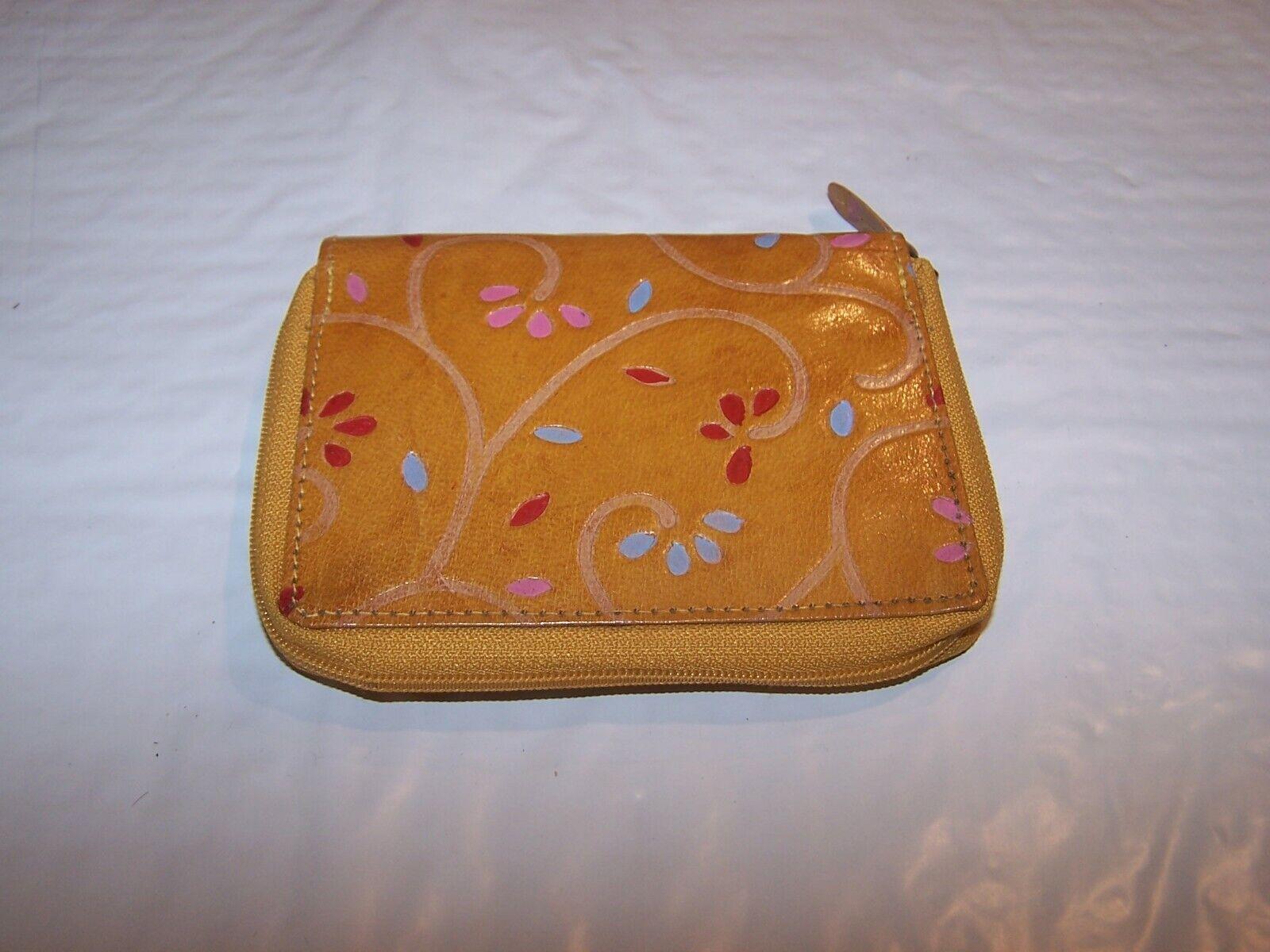 Mundi Tan Tooled Wallet Floral Zip Around w/zip coin purse