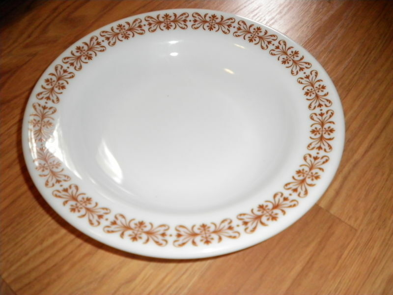 Pyrex Rimmed Bowl Glass With Brown 9  DIAm set of 7 Copper Filigree Milk glass