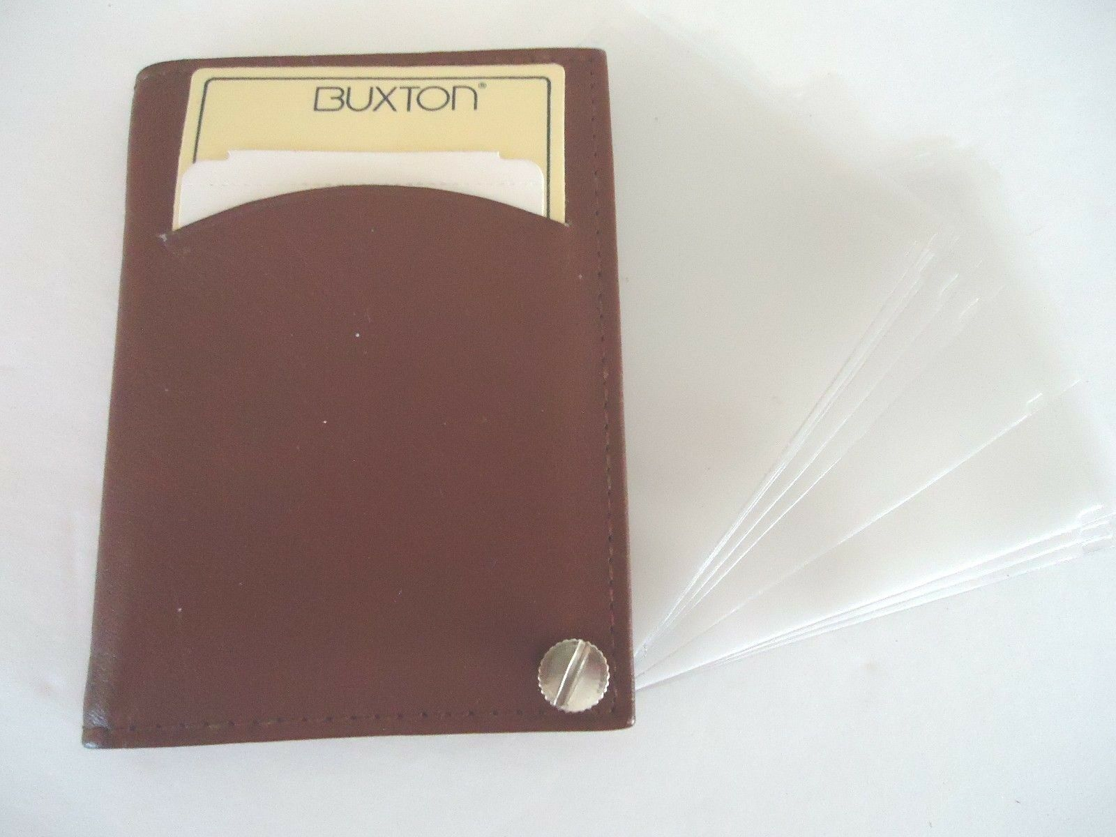 Buxton Genuine Leather Fan Card Case,Brown