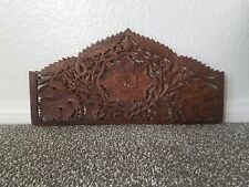 """Architectural 17¼"""" Carved Wood Pediment Wall Door Topper Header Crown Floral"""
