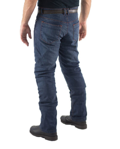 Mens Blue Motorcycle Protective Jeans Fully Lined Level 1 Protection CE Armour
