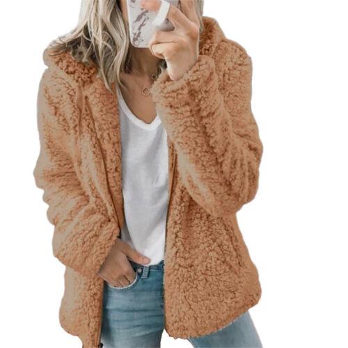 Womens Plush Fluffy Coat Hooded Fleece Jacket Outwear Parka Ladies Cardigan Tops