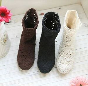 Summer-Women-Block-Heel-Hollow-Out-Breathable-Knitted-Mid-Calf-Boots-Roman-Shoe