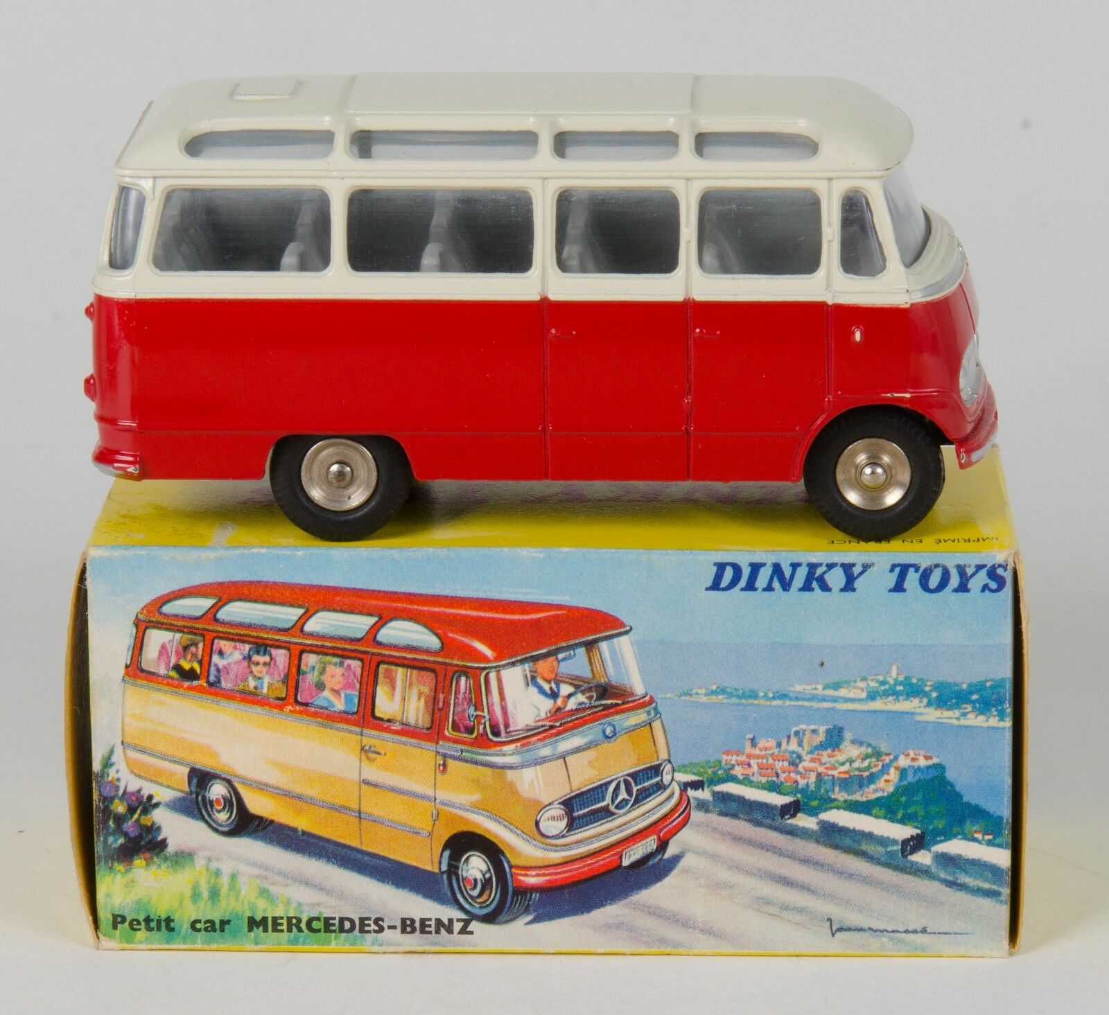 FRENCH Dinky 541 Mercedes-Benz Autocar Bus. Red Cream. 1960's BOXED