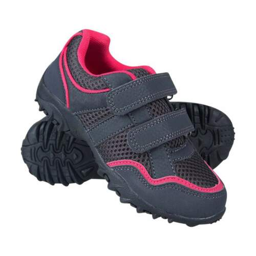 MW Girls Grey Pink Neptune Kids Hook and Loop Shoes Trainers