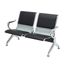 2-Seat Silver PU Reception Area Airport Waiting Room Bench Chair Heavy Duty New