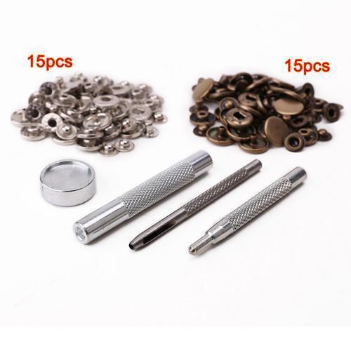 outil 4 pcs Bouton pression metal 15 pcs argenté 15 pcs bronzé 10 mm