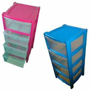 Image Is Loading 4 DRAWER PINK BLUE TOWER UNIT PLASTIC STORAGE