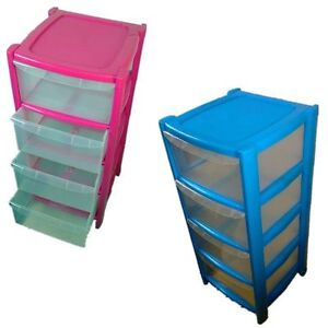 Wonderful Image Is Loading 4 DRAWER PINK BLUE TOWER UNIT PLASTIC STORAGE