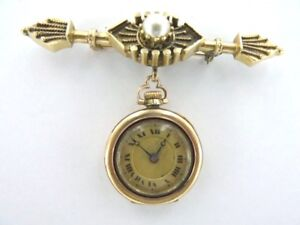 3a0cbc54d STUNNING EARLY 1900'S 14K GOLD & PEARL LADIES BROOCH WATCH IN ...