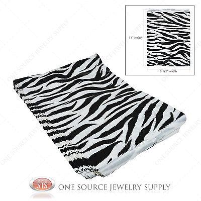 "100 Zebra Print Gift Bags Merchandise Bags Paper Bags 8 1/2""x 11"""