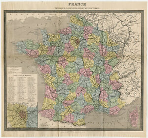 Map Of France And Corsica.Antique Map France Departments Corsica Paris Vuillemin Migeon 1878
