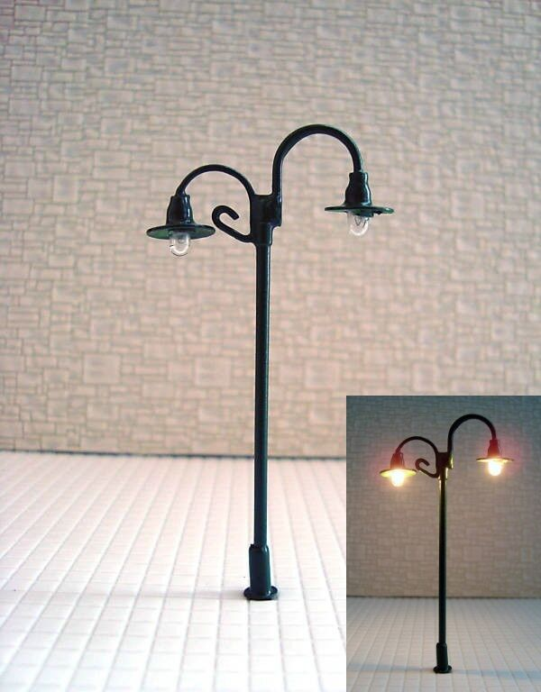 S148 - Set 10 10 10 Piece Lamps Streetlights Nostalgic 2 Flame 6,5cm 8bbdcf