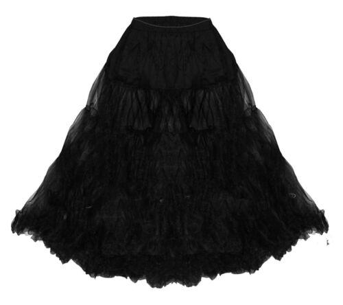 Hell Bunny Petticoat Knielang Schwarz Übergröße Jive XL 2XL 3XL 4XL 44 46 48 50
