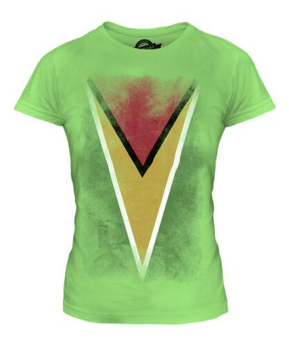 GUYANA délavé drapeau femmes t-shirt tee top guyane football guyaniens cadeau shirt
