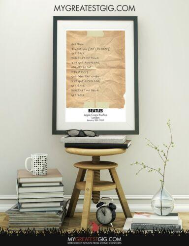 Apple Roof Jan 30th 1969 Beatles Recreated Set List Poster Print Wall Art