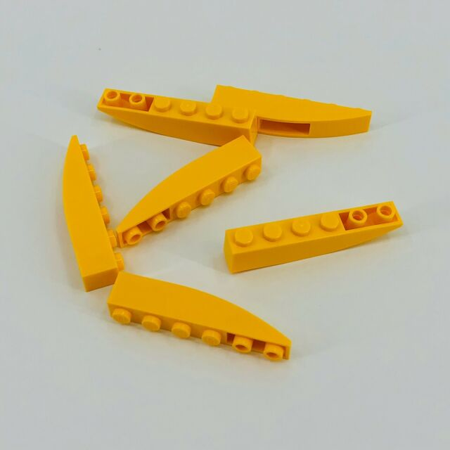 LEGO Lot of 4 Yellow 6x1 Curved Slopes
