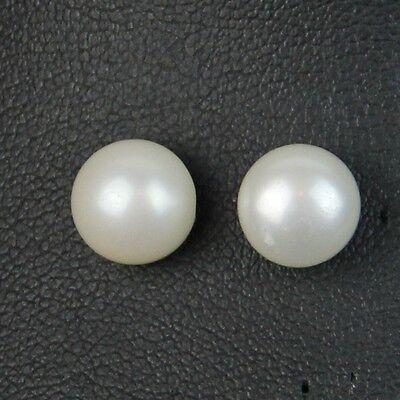 Boucles d/'Oreilles Clous Perle de Culture Plate Argent 925 Blanche 10mm-11mm TZ3