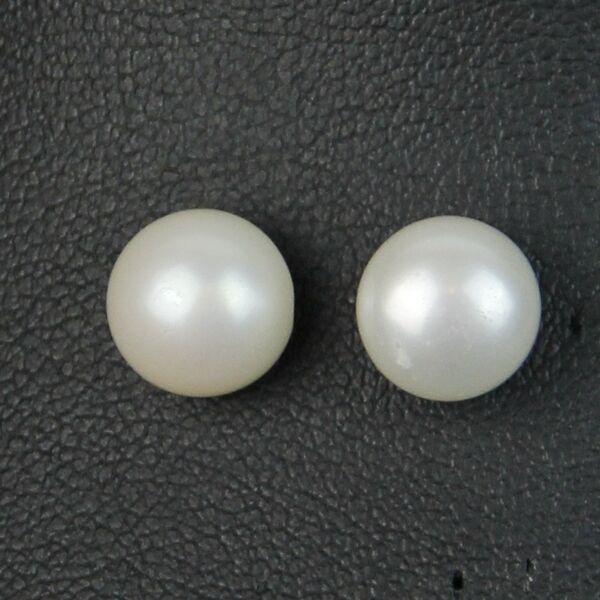 Boucles d'Oreilles Perle de Culture Plate Argent 925 Blanc 11mm-12mm TZ2 C05
