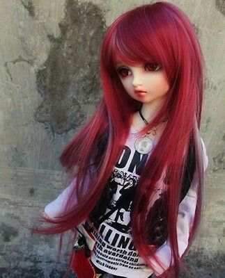 "7-8"" 1/4 BJD Hair Mini Super Dollfie MSD Long Wig Silver+Red AF DK DZ DL AOD DOD"