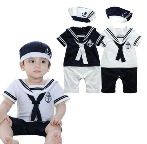 USA Newborn Baby Boys Sailor Costume Toddler Bodysuit Outfits Romper Clothes+Hat
