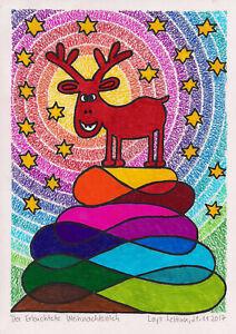 Postkarte-Kunstdruck-Loys-Lettink-signiert-034-Der-erleuchtete-Weihnachtselch-034-Art