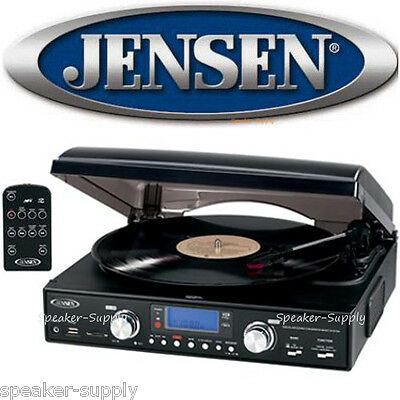 Jensen 3 Speed Stereo Turntable Record Player Built in Speakers Remote JTA-460