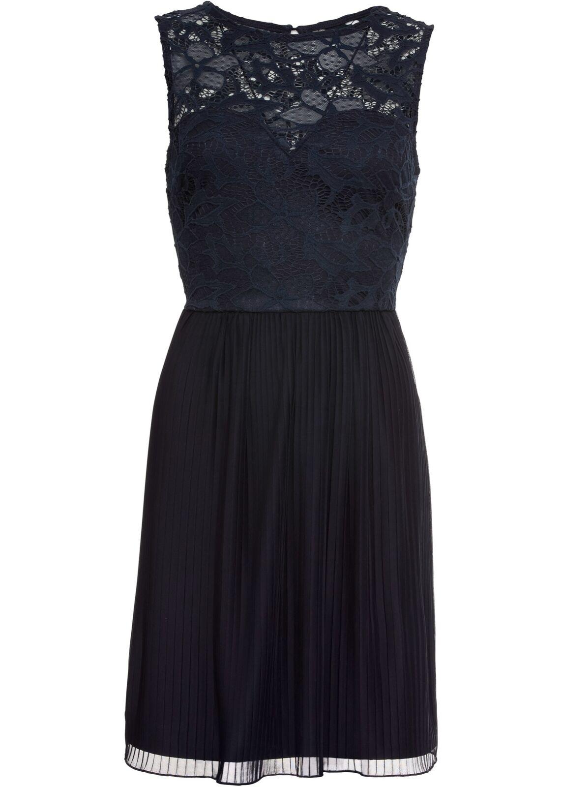 Jerseykleid mit Plisseé-Rock und Spitze Gr. 40 42 Dunkelblau Mini Abendkleid Neu