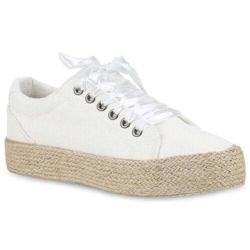 Damen Plateau Sneaker Bast Satin-Optik Schnürer Turnschuhe Glitzer 820541 Trendy