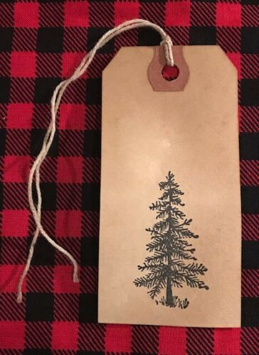 25 NEW SIZE #3 Coffee Stained Primitive CHRISTMAS PINE TREE Hang Price Gift Tags