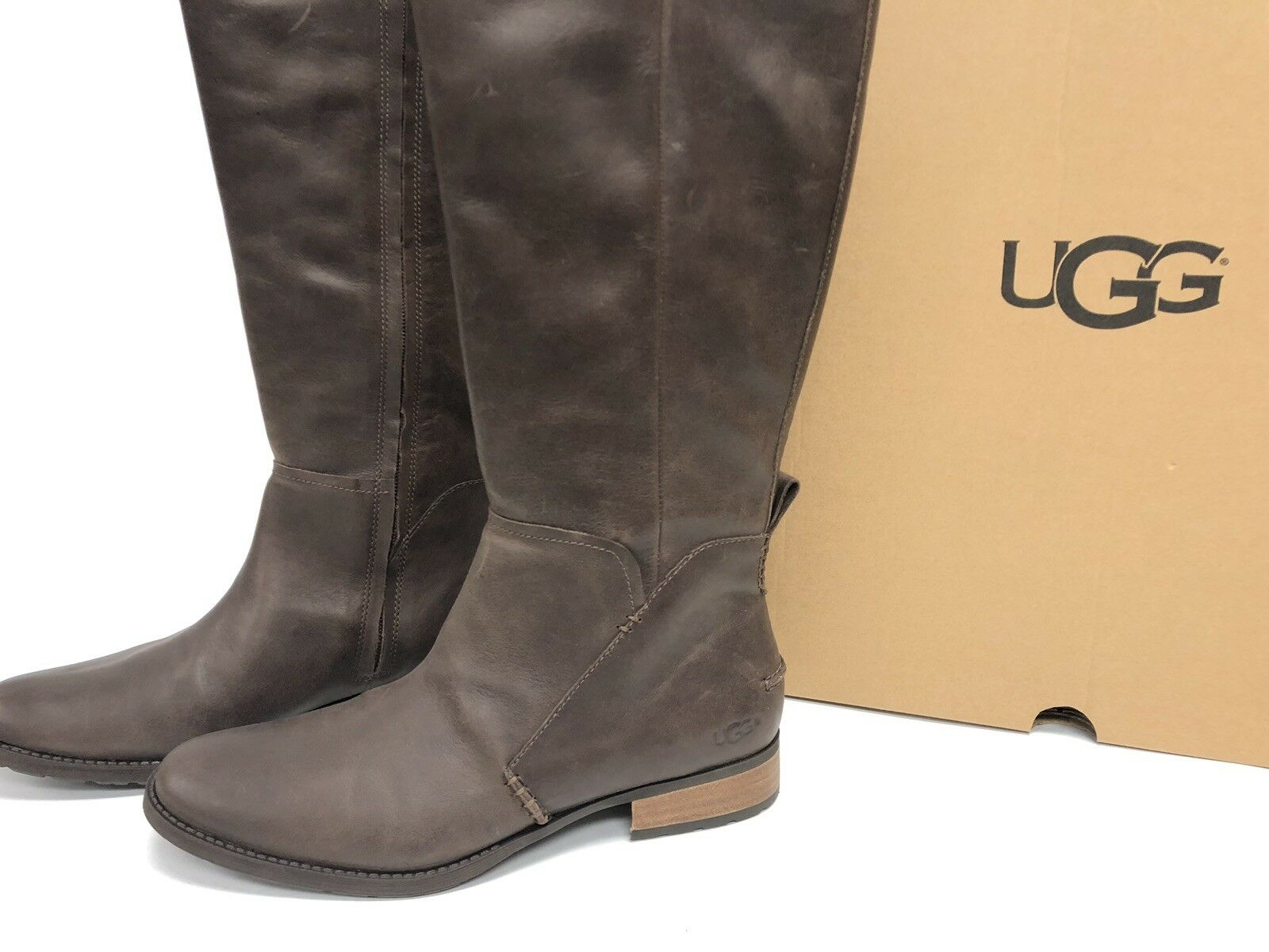 3795cf25134 UGG Australia Leigh Boot Riding 1098315 Women's Dark Brown Leather Tall  Boots ~