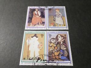 S-Tome-E-Principe-1981-Lot-4-Tp-Paintings-Picasso-Painting-Obliterated-VF-Stamp