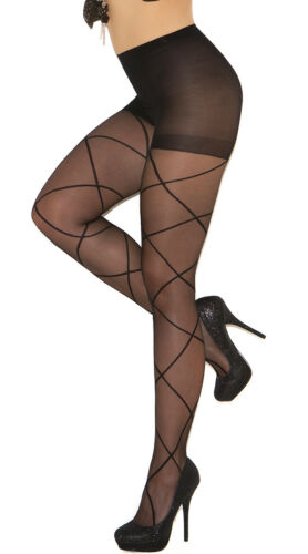 Queen Size Womens Plus Size Sheer Pantyhose With Criss Cross Detail