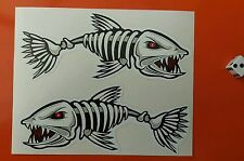 PAIR OF SKELETON FISH STICKERS EVIL Fish 150mm X 60mm KAYAK BOAT FISHING