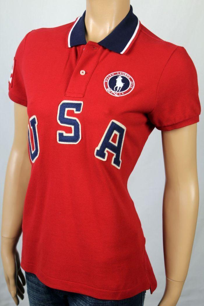 Ralph Lauren rot Navy Blau Weiß USA Olympics 2012 Polo Shirt NWT
