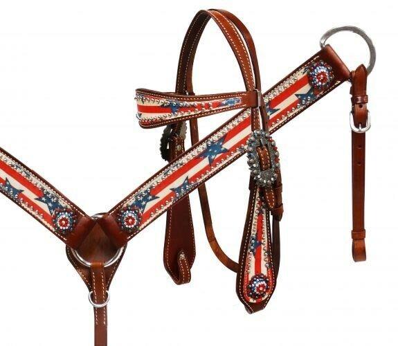 mostrareuomo Patriotic Leather Bridle & Breast Collar Set w estrellaS & STRIPES nuovo TACK