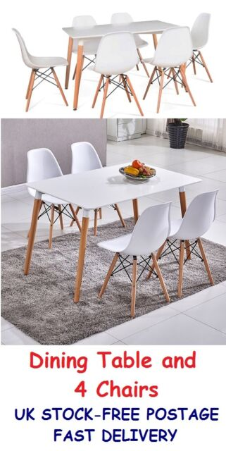 Kitchen Dining Sets White Table And 4 Chairs Dinning Living Room