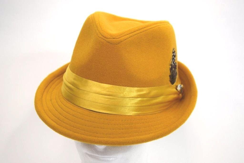 Men's Fedora Hat Cuban Style Casual Wool Upturn Short Brim Mustard Wool Casual Blend FD-208 7a7eb1