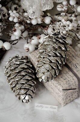 Zapfen Christmas Weihnachten Advent Antiksilber Brocante Shabby Chic