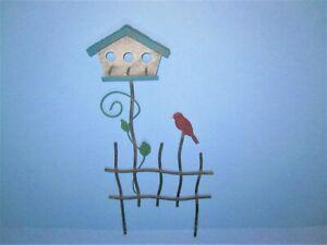 Miniature Dollhouse FAIRY GARDEN ~ Large Metal Rustic White Birdhouse Pick