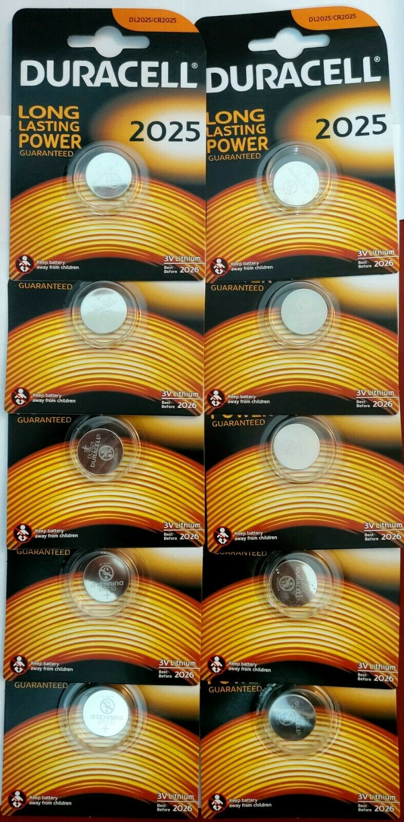 wholesale 100 x Duracell CR2025 3V Lithium Coin Cell Battery 2025 DL/BR2025